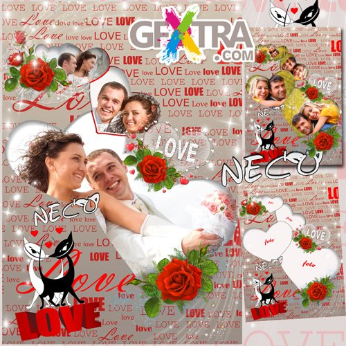 Romantic frame with red roses and cats - Time of love