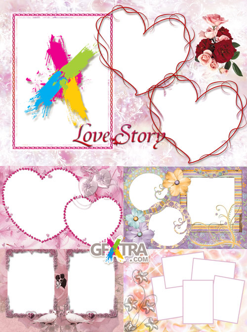 Collection of Photo frames for Valentine\'s Day pack 5