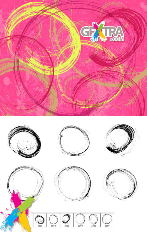 Thin Ink Circles Brushes Set