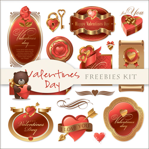 Romantic Scrap-kit - Labels For Valentines Day 2012 (PNG)