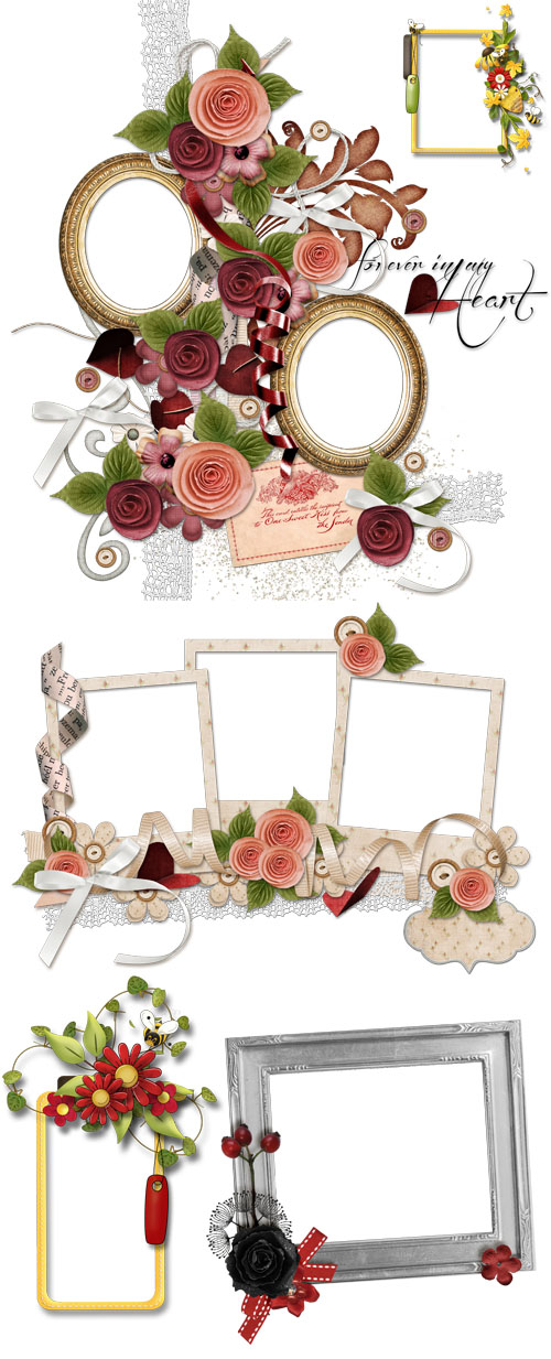 Scrap-kit - Mix Of Cluster Frames Vol. 1 (With Flowers)