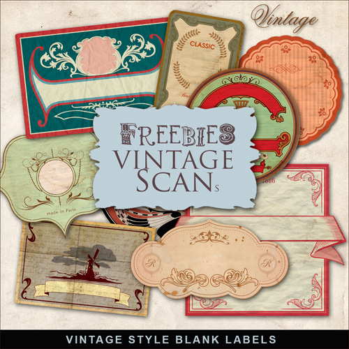 Scrap-kit - Blank Labels Vintage Style - PNG Cliparts 2012 Vol.2