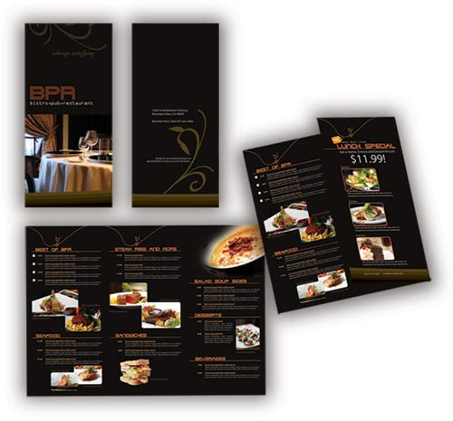 Vector Restaurant Menu in Black Style