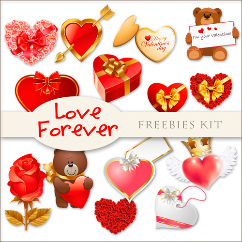 Romantic Scrap-kit - Love Forever For Valentines Day 2012 (Creative PNG Images)