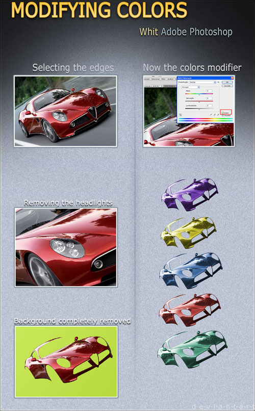 Changing Color of a Car - Template in PSD