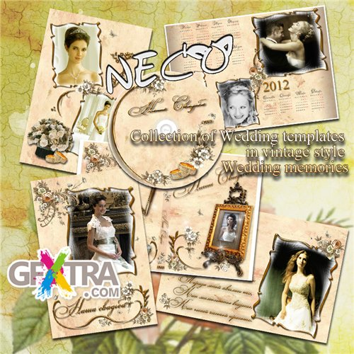 Collection of wedding templates in vintage style - Wedding memories