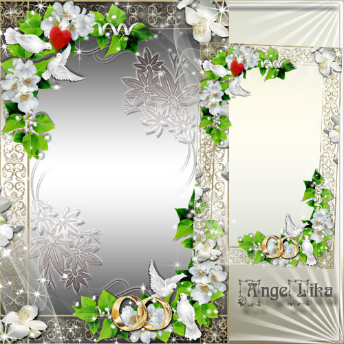 Wedding Frame - White Flowers and Pigeons