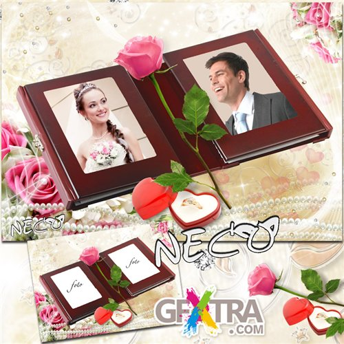 Wedding frame with pink roses - Opened Album