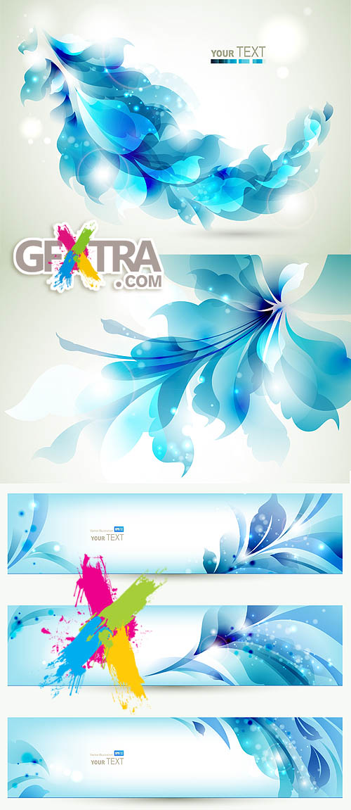 Stock vector: Beautiful blue banners with flowers