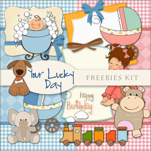 Childrens Scrap-set - Lucky Day - For Baby Birthday Hollidays