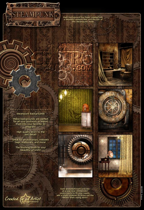 Steampunk HQ Backgrounds and Cog Wheels, Frames and Decorations