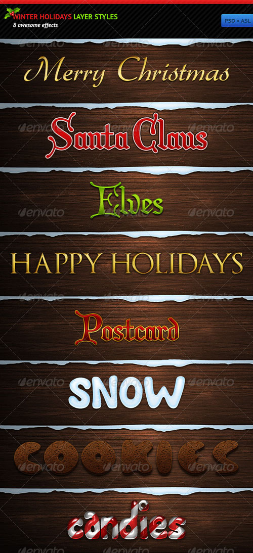 GraphicRiver: Winter Holidays Layer Styles