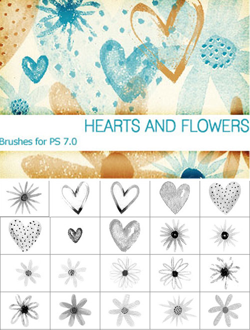 Hearts And Flowers Brushes Set