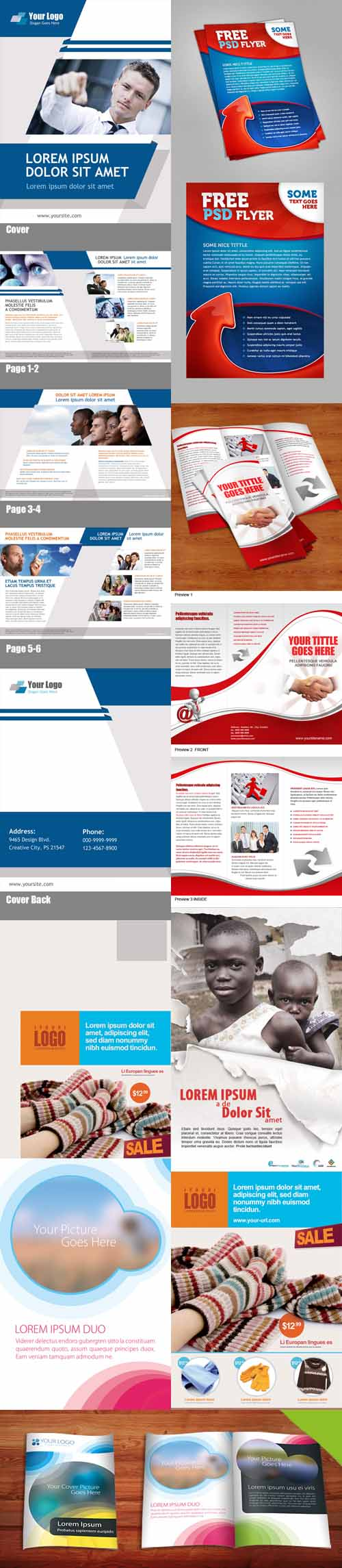 PSD Retail Marketing Postcard, Fold Brochure and Booklet Template