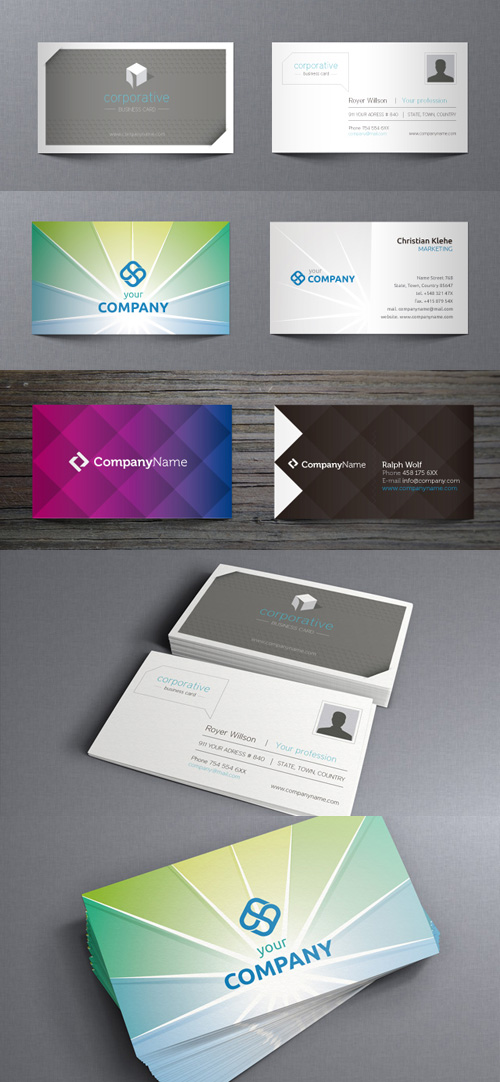 Modern Vector Business Cards pack 3