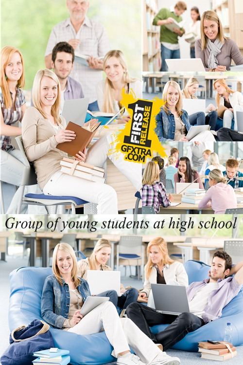 Stock Photo: Group of young students at high school 2