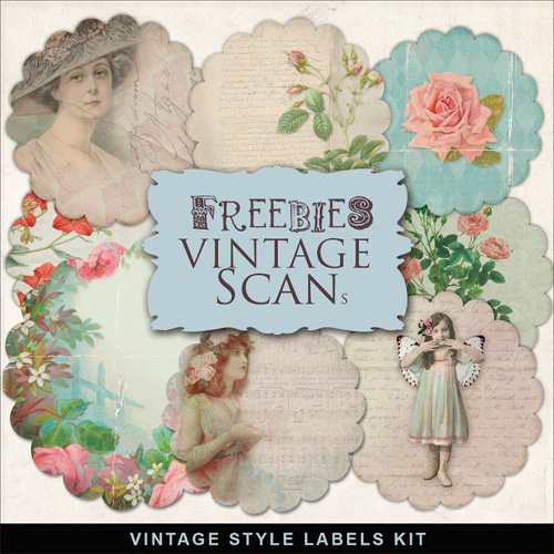 Scrap-kit - Vintage Style Labels photos woomen for Romantic Design