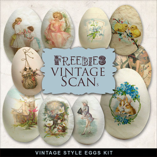 Scrap-Kit - Vintage Style Eggs Illustrations With Old Images In PNG