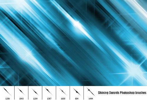 7 Shining Swords Photoshop Brushes set