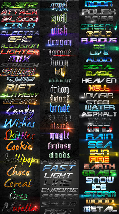 Collections of Text Layer Styles #3 for Photoshop
