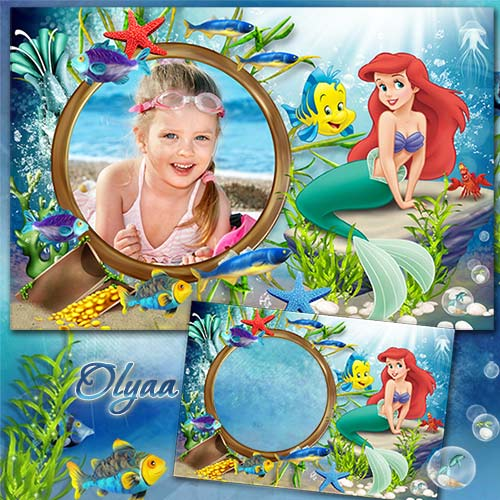Sea frame with the Little Mermaid Ariel - Beauty of the underwater world