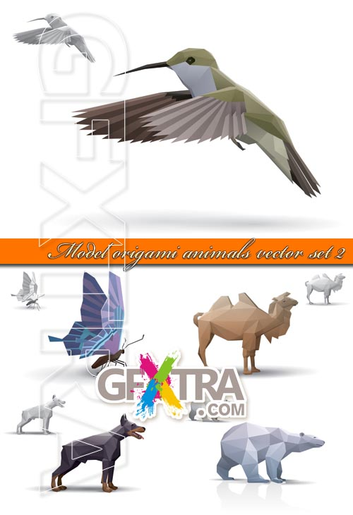 Model origami animals vector set 2