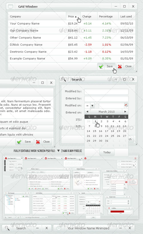 GraphicRiver: Web Forms and Windows - Glass Windows Style PSD