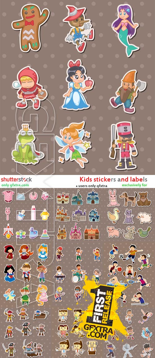 Kids Stickers and Label Vectors 22xEPS