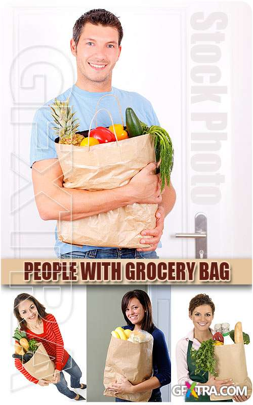 People with grocery bag - UHQ Stock Photo
