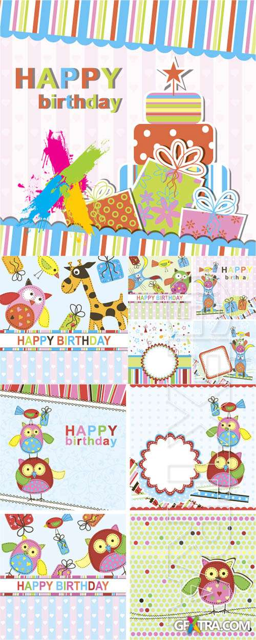 Birthday Greeting Cards, 4xEPS