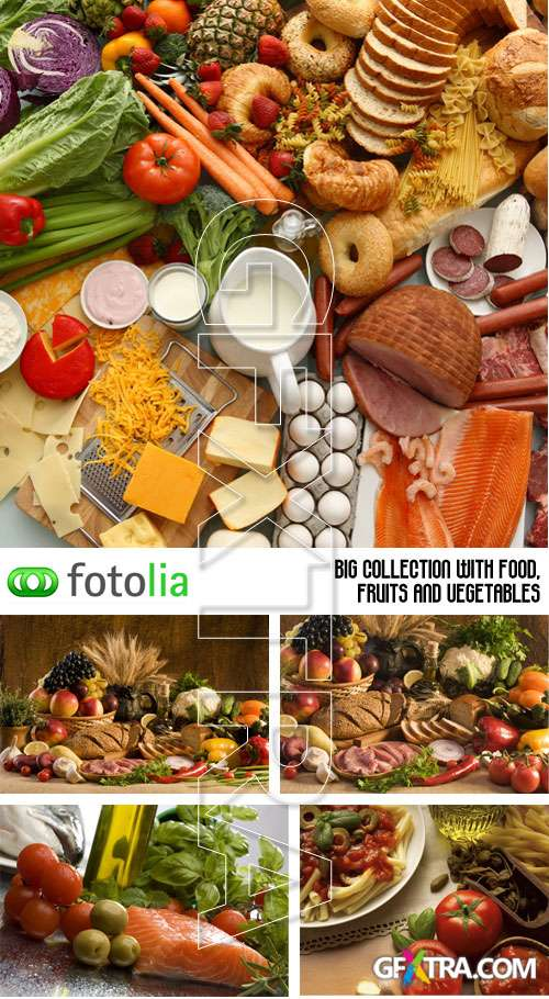 Big collection with food, fruits and vegetables - Fotolia 5xJPGs