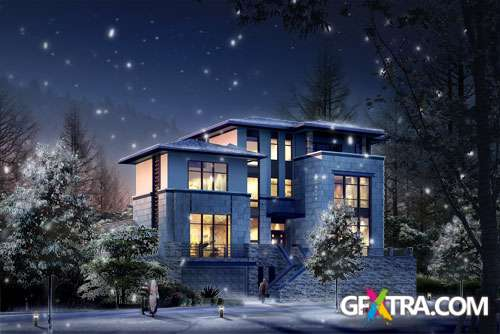 Snowing Winter Night and Xmas Home PSD