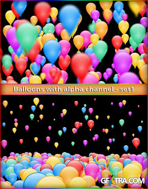 Alpha Channel Footage - Balloons - Colored Video Footage For Happy Birthday Celebrates
