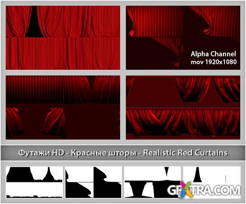 Alpha Channel Footage HD - Red Curtains - Creative Video Footage