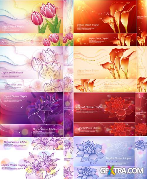 Vector Banners Fantastic Flowers