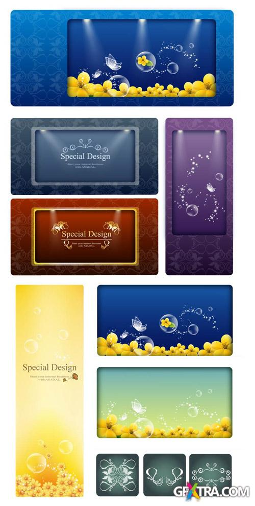 Digital Vector Banners with Ornaments