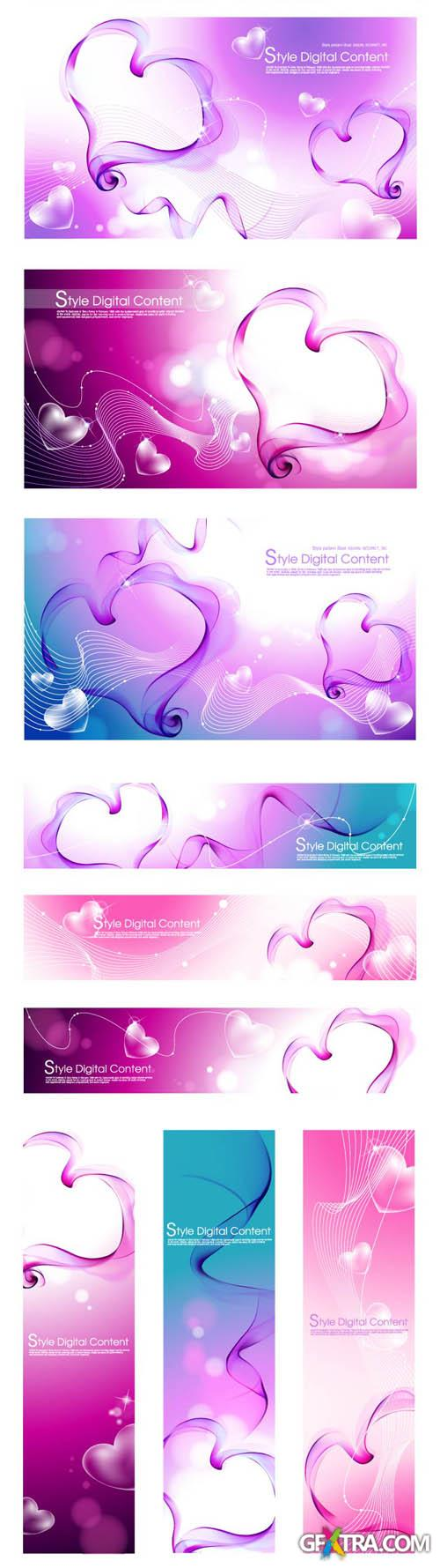 Romantic Vector Digital Backgrounds