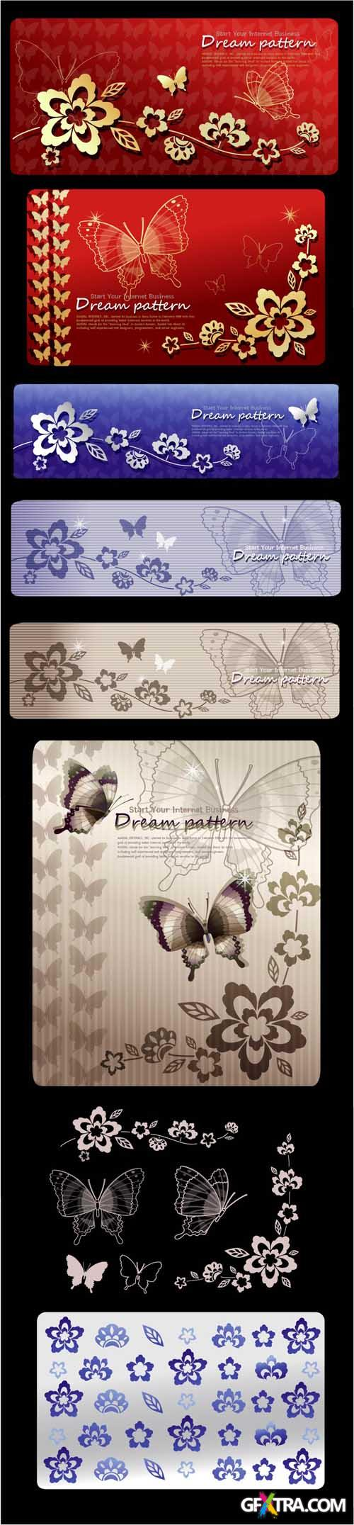 Floral Vector Banners with Butterflies