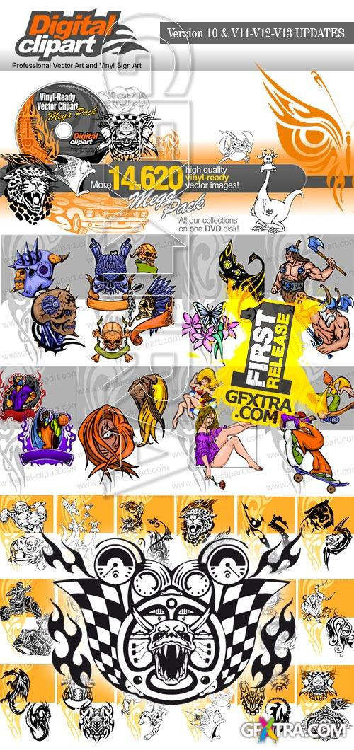 Digital Clipart Full Collection DVD Versiyon 10 and v11-12-13 Updates, Total 14620 EPS Vectors!