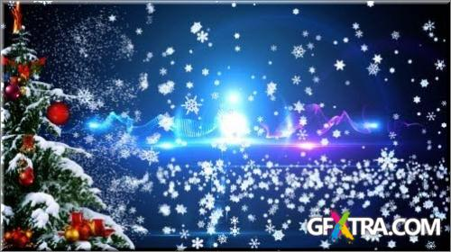 Beautiful new-year video illumination, with flying snowflakes