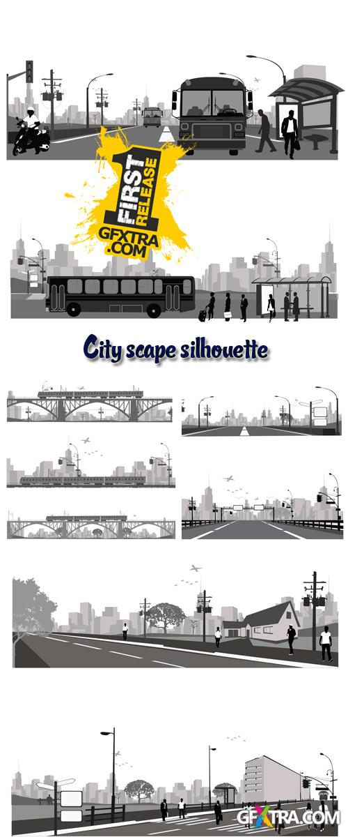 Stock: Vector illustration.City scape silhouette