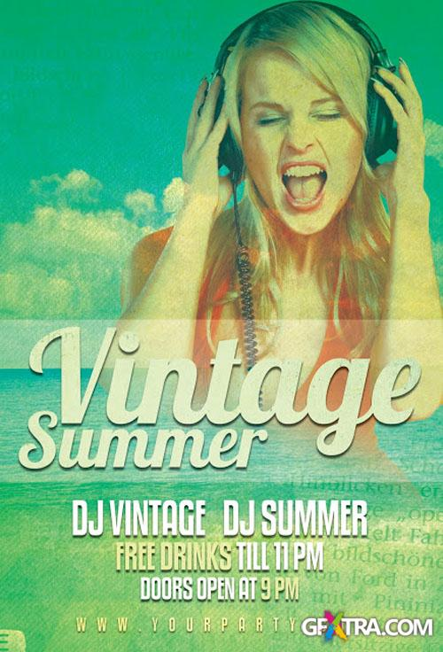 Vintage Summer Party Flyer/Poster PSD Template
