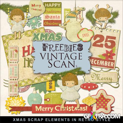 Scrap-kit - Christmas Scrap Elements In Retro Style