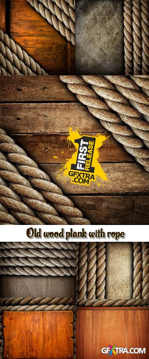 Stock Photo: Old wood plank with rope