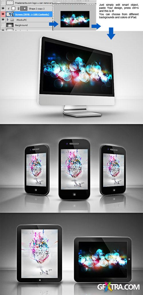 iPad, iPhone, iMac Mockup PSD Template