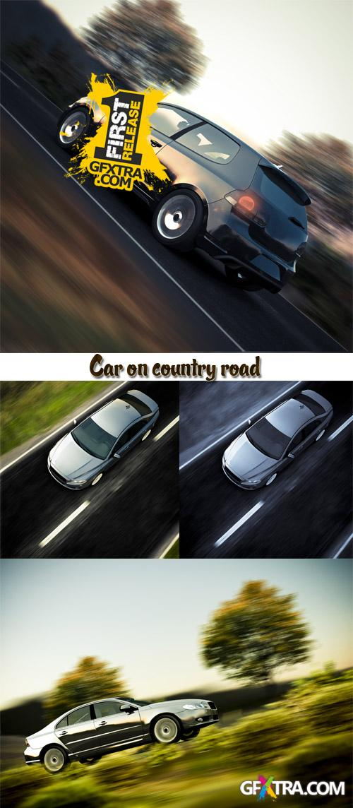 Stock Photo: Car on country road