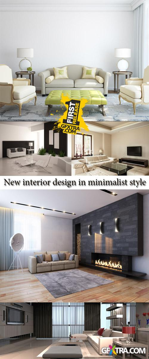 Stock Photo: New interior design in minimalist style