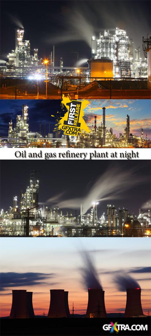 Stock Photo: Oil and gas refinery plant at night