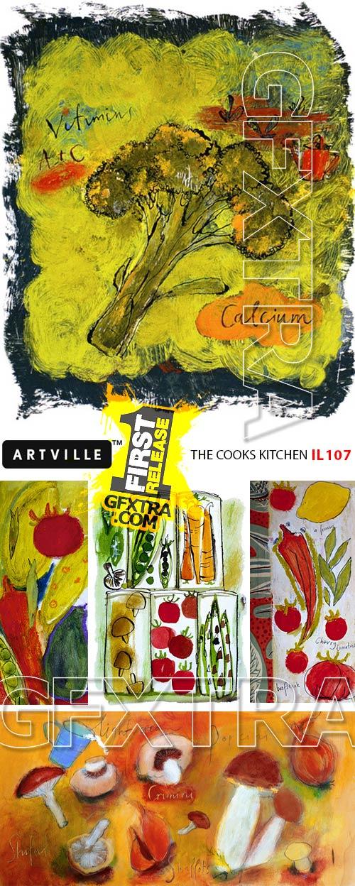 ArtVille Illustrations IL107 The Cooks Kitchen