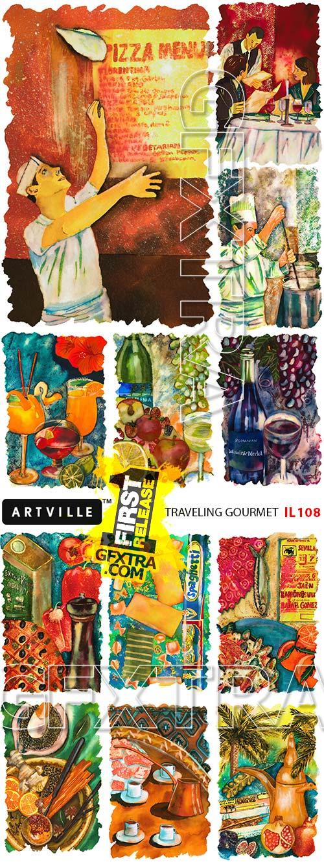 ArtVille Illustrations IL108 Traveling Gourmet
